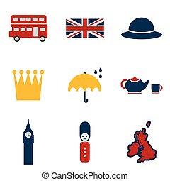 Set of flat icons on white background United Kingdom
