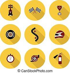set of flat icons race