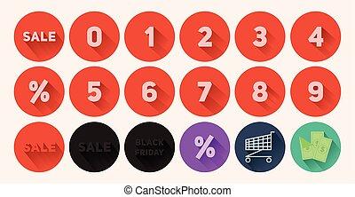 Set of flat icons Sale