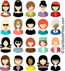 Set of flat icons set with women. Vector illustration