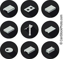 set of flat icons slab