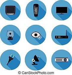 set of flat icons TV