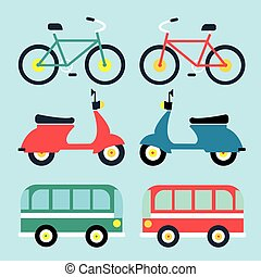 Set of flat icons, types of public transport for use in info graphics and interface