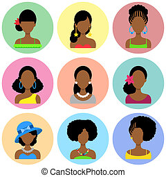 Set of Flat Icons with African Women