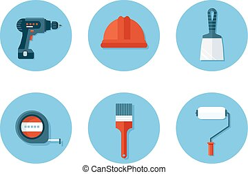 Set of flat icons with construction tools