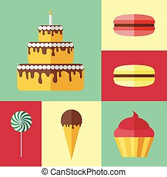 Set of flat icons with different sweets