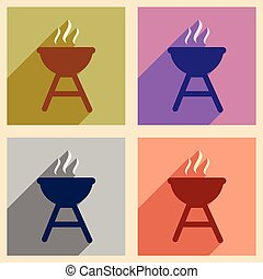 Set of flat icons with long shadow American BBQ