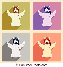 Set of flat icons with long shadow Christmas angel