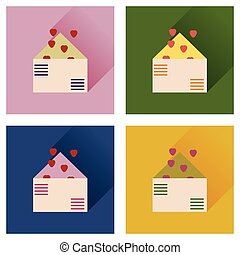Set of flat icons with long shadow love letter