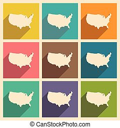 Set of flat icons with long shadow map of America