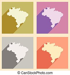 Set of flat icons with long shadow map of Brazil