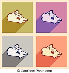 Set of flat icons with long shadow map of Canada