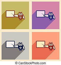 Set of flat icons with long shadow owl teacher