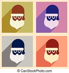 Set of flat icons with long shadow Santa Claus
