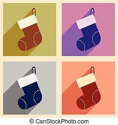 Set of flat icons with long shadow Santa's sack