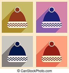 195feaf7ddee Set of knitted woolen pink caps with snow goggles. winter sport hat ...