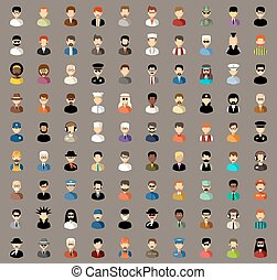 Set of flat icons with men. vector