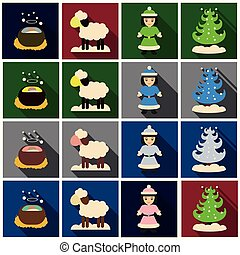 Set of Flat Icons with shadow Christmas