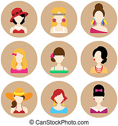 Set of Flat Icons with Women Characters