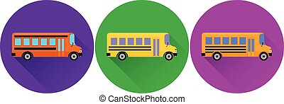 Set of flat icons yellow school bus