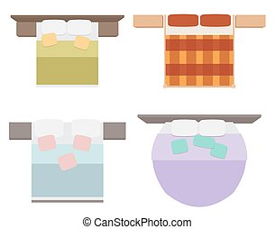 Set of flat illustrations beds with a view from the top. Vector element for your creativity and infographics