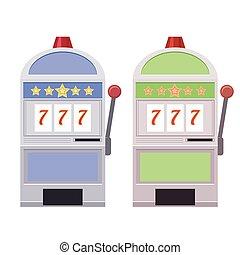 Set of flat illustrations of Slot machines.