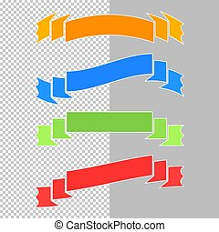 Set of flat isolated colored ribbons and banners on a transparent background. Simple flat vector illustration. With place for text. Suitable for infographics, design, advertising, festivals, labels.