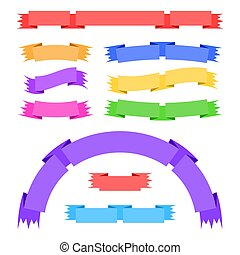 Set of flat isolated colored ribbons and banners on a white background. Simple flat vector illustration. With place for text. Suitable for infographics, design, advertising, festivals, labels.