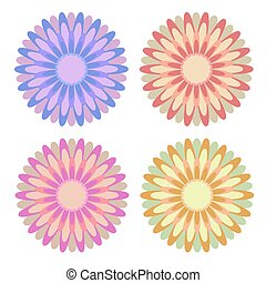 Set of flat isolated colored yellow, red, pink, blue abstract flowers on a white background. Simple design for decoration