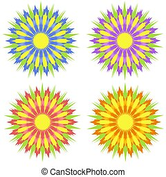 Set of flat isolated colored yellow, red, purple, blue abstract flowers on a white background. Simple design for decoration