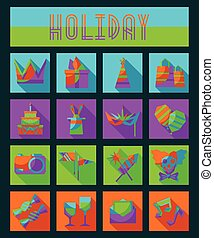 Set of flat isolated holiday icons with gifts, party, birthday symbols. Masquerade mask, fireworks, crown, merry clown, rabbit in a hat.