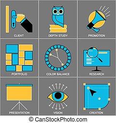 Set of Flat Line Design Icons for Digital Marketing, Promotion, Campaign, Internet Presentation, Programming, Branding and Data Visualisation.