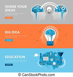 Set of flat line design web banners for education, learning ...