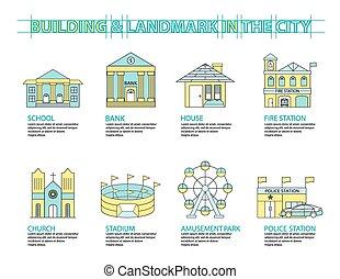 Set of Flat line icon & infographic design concept, Buildings landmark city 01