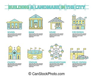 Set of Flat line icon & infographic design concept, Buildings landmark city 01