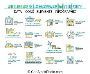 Set of Flat line icon & infographic design concept,Buildings landmark city
