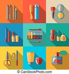 Set of flat makeup icons - mascara, polish, powders, lipsticks, perfume, lotions, comb, nail clipper. Vector