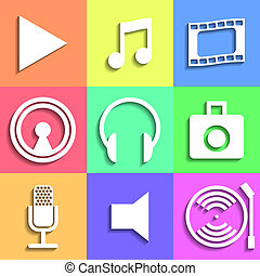Set of flat Media Icons