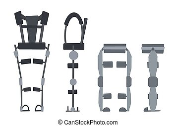 Set of flat medical exoskeleton isolated on a white background. Help for people with disabilities. Vector exosuit.