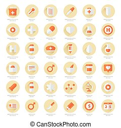 Set of flat Medical icons 2 color styles