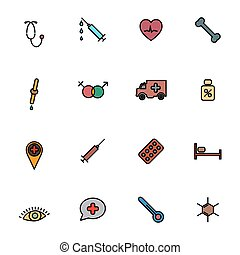 Set of flat medical icons with black stroke, vector illustration.