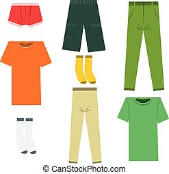 Set of flat men clothes and accessories. Vector illustration