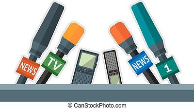microphones - Set of flat microphones and dictaphones. Eps ...