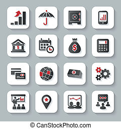Set of flat modern business web icons