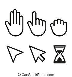 Set of flat modern cursor icons.