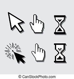 Set of flat modern cursor icons