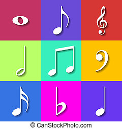 Set of Flat Music Notes Icons. Vector