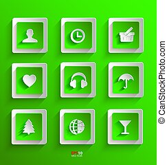 Set of flat paper icons