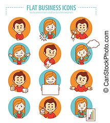 Set of flat people business icons. - Set of flat business...