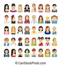 Set of flat people icons